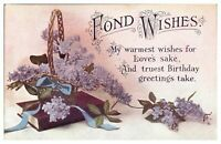 Antique colour printed postcard card Birthday Fond Wishes flowers
