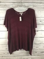 New Christopher & Banks Purple Short Sleeve Knitted Top Size Medium Sketchy