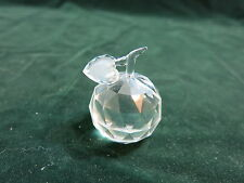 "Fine Crystal Clear Apple With Leaf 2"" Tall Paperweight"