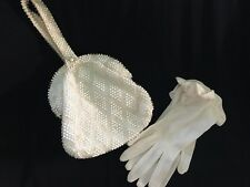 VINTAGE CREAM COLORED BEADED BAG BY CORDE-BEAD 1950'S WITH GLOVES