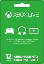 Xbox Live Gold 12 mesi abbonamento 1 anno Codice Microsoft Xbox One Xbox 360 IT