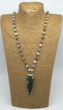Fashion jewelry matt Amazonite arrowhead Pendant natural stones Necklace woman
