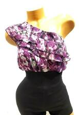 New Womens 2b Bebe Black Purple And White Ruffle One Shoulder Top Size S - NWOT