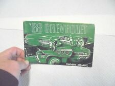 New listing owner's manual 1968 chevrolet automobiles