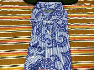 ETRO Italian Light Blue Navy Purple Striped Paisley Dress Shirt - Sz. 41 - NWT