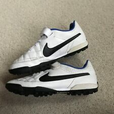 NIKE TIEMPO ASTRO TURF FOOTBALL BOOTS UK SIZE 5 WHITE BLUE BLACK TRAINERS