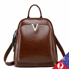 Women's Vintage Genuine Leather Oiled Waxed Leather Cowhide Backpack Bag AU