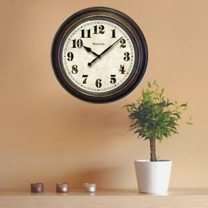 Westclox Wall Clock 24 in. Round Glass Lens Analog Display Bronze Plastic Frame