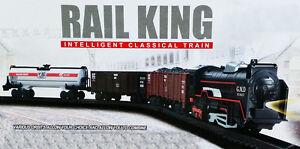 B/O New Classic Rail King Train Track Set Light Engine Locomotive Toy UK Seller