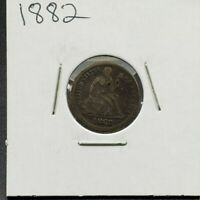 1882 P Liberty Seated Silver Dime Coin Choice VG Very Good / Fine Circulated