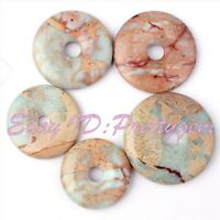 Donut Ring Round Smooth Natural Shoushan Stone Gemstone Pendant Beads 1 Pcs