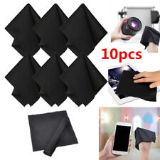10 x Premium Black Microfiber Cleaning Cloths for Camera Lens Glasses TV Screen
