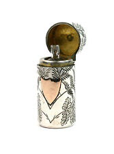 Antique Victorian Sterling Silver Scent Perfume Bottle Flora & Fauna London 1888