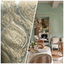 NEW Designer Brocade Satin Damask Fabric- Aqua- Upholstery & Drapery BTY