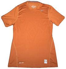 Nike Pro Combat Dri Fit Mens Burnt Orange Short Sleeve Shirt Size Small