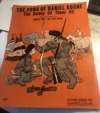 Vintage The Song of Daniel Boone sheet music 1955 Excellent Condition