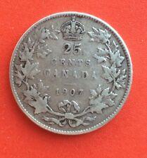 CANADA -  Jolie monnaie de 25 Cents  1907 - Date plus rare