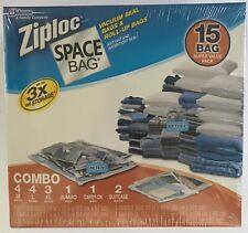 ZIploc Space Bags 15 Bag Combo Pack of Vacuum & Roll up Seal Storage..Sealed!