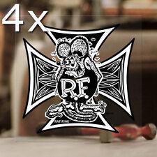 4x Stück Rat Fink Iron Cross Sticker Aufkleber Autocollante Pegatina 70mm