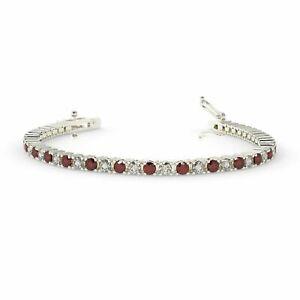 Special Offer..4.20ct Ruby & Diamond Tennis Bracelet Hallmarked In White Gold