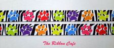 Multi-colour Paws on b&w zebra 15mm wide printed grosgrain ribbon  2 METRES