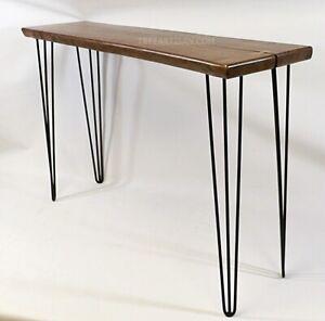 Walnut Slab Console Hall Sofa Table Live Edge Rustic Modern Artisan Handcrafted