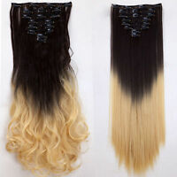 """Extra THICK Real 100% as Remy Human Hair Extensions Clip in DIY 8Piece 17-26"""" FR"""