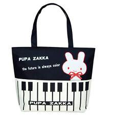 Canvas White Rabbit Piano Pattern Shopping Shoulder Bags Handbag Beach Girl Bag
