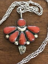 Coral Pendant signed Beverly Webothee 1� Zuni Sterling Silver & Multi inlay