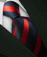 1x Classic Striped WOVEN JACQUARD Silk Men's Suits Tie Necktie Red BLK M097