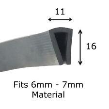 Black Rubber U Channel Edging Trim Seal 16 mm x 11 mm