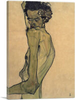 Self Portrait With Arm Twisting Above Head Canvas Art Print by Egon Schiele