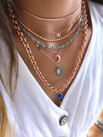 Herringbone Chain Choker / Necklace 925 Solid Silver 14K Rose Gold Plated