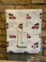 New POTTERY BARN Queen Size Organic Cotton Sheet Set Woody Car Christmas Tree