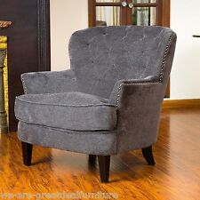 Gorgeous Vintage Design Grey Upholstered Arm Chair