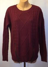 Stitch Fix Pixley Sweater Cable Knit S Crew Neck Burgundy Red Zipper Pull Over