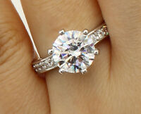2.50 Ct 14K White Gold Round Solitaire Engagement Wedding Propose Promise Ring