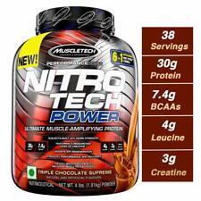 Muscletech Nitro Tech POWER Protein 4 lbs, 38 Servings TRIPLE CHOCOLATE