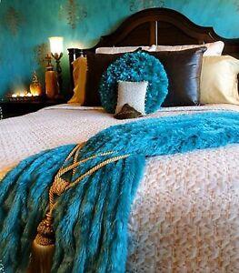 Throw Blanket - Plush Shag Faux Fur - Minky Cuddle Fur Lining - 12 Colors