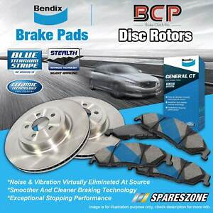 Front BCP Disc Brake Rotors + Bendix Brake Pads for Nissan Navara D40 2.5L 4.0L