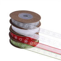 10m/roll 10mm Christma Organza Ribbon Printed Tape for DIY Gift Wrapping Deco Io