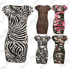 Ladies Leopard Camouflage Bodycon Cap Sleeve Tunic Short Mini Dress Plus SM-XXL