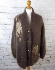 "Vintage cardigan coatigan bust 48"" 18 20 plus size mohair super fluffy shaggy"
