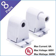 8 Pairs Single Pin Tombstone Base Socket Lamp Holder For LED T8/T10/T12 Bulb