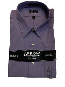 ARROW Long Sleeve Lavender Purple Satin Check Cotton Blend Fitted Dress Shirt