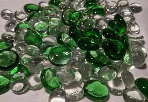 120+ Green & Clear Glass Gems / Marbles / Nuggets / Pebbles, 14oz / 397g