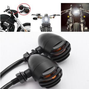 2x Motorcycle Turn Signal Light Indicator Black Fork For Harley Chopper Bobber