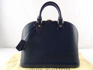 US seller Authentic LOUIS VUITTON EPI ALMA PM HAND BAG GREAT LV NAVY