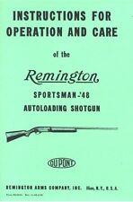 Remington Sportsman -48 Autoloading Shotgun Gun Manual Handbook