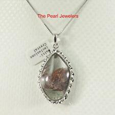Black Brown Multi-Inclusion Quartz Crystal Solid Sterling Silver Pendant - TPJ